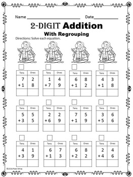 Snowman Double Digit Addition and Subtraction Math Pack