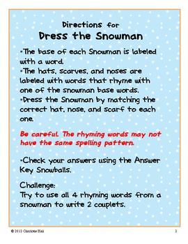 Snowman Dress-Up: Rhyming Words