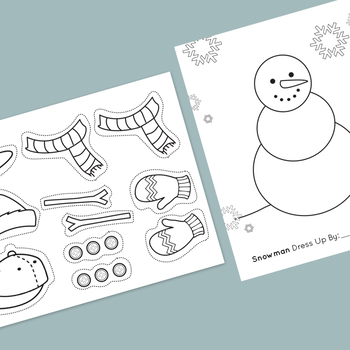 Snowman Dressup Worksheet Cut Out Clip Art Coloring Page By Mromanodesign