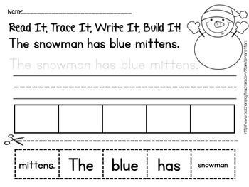 Snowman Emergent Reader & Centers