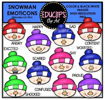 Snowman Emoticons Clip Art Bundle  {Educlips Clipart}
