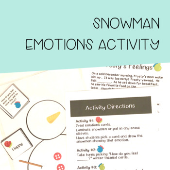 Snowman Emotions Activity Set