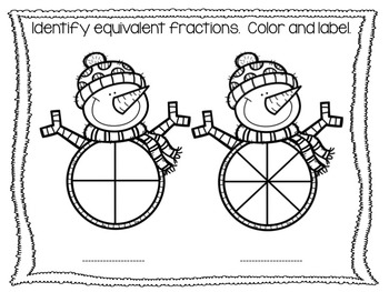 FREEBIE: Snowman Equivalent Fractions {Color It}