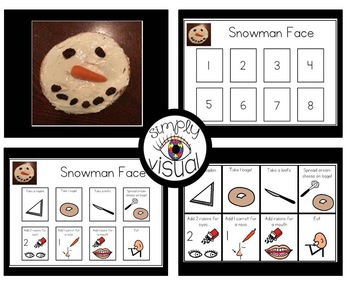 Simple Snack Activity with Visual Directions Snowman Face