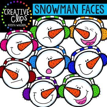 Snowman Clipart: Faces {Creative Clips Clipart}