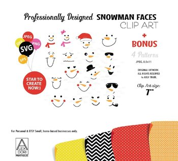 Snowman Faces SVG Clipart in Pink in 4 Prints