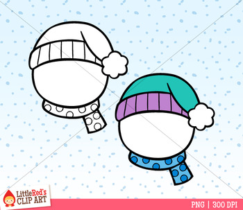 Snowman Faces Winter Clip Art
