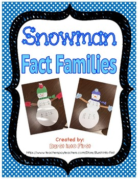 Snowman Fact Families Craft and Worksheets