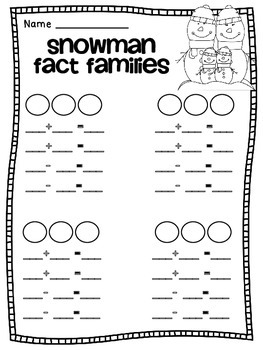 Free Snowman Fact Families