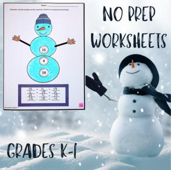 Snowman Fact Family NO Prep Worksheets