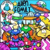 Alien Family Clip Art Set - Chirp Graphics