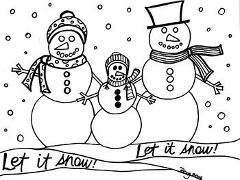 Snowman Family Coloring Sheet
