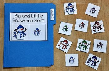 Snowman File Folder Game:  Big and Little Snowman Sort