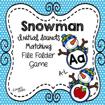 Snowman File Folder Game: Initial Sounds A-L