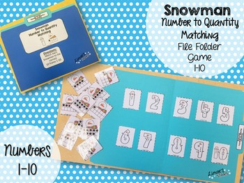 Snowman File Folder Game: Number to Quantity 1-10