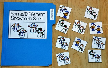 Snowman File Folder Game:  Same and Different Snowman Sort