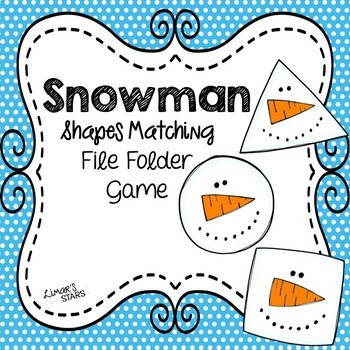 Snowman File Folder Game: Shapes Matching