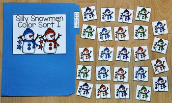 Snowman File Folder Game--Silly Snowman Color Sort 1