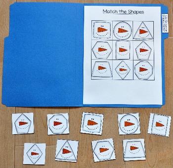 Snowman File Folder Game--Silly Snowman Shapes Match