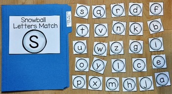 Snowman File Folder Game--Snowball Letters Match