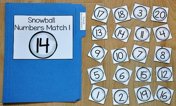 Snowman File Folder Game--Snowball Numbers Match
