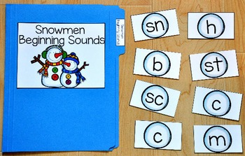 Snowman File Folder Game:  Snowman Beginning Sounds