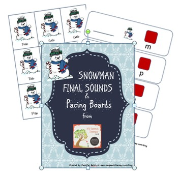 Speech Therapy Materials: Snowman Final Sounds & Pacing Boards