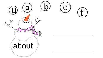 Snowman First Grade Sight Word Building Smartboard