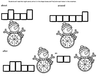 Snowman First Grade Sight Words