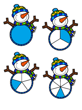 Snowman Fraction File Folder Game