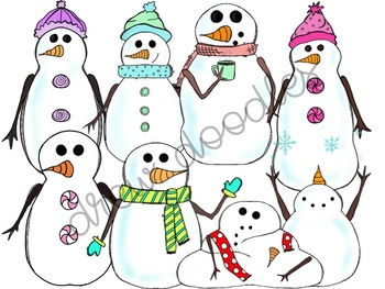 Snowman Friends Digital Clipart