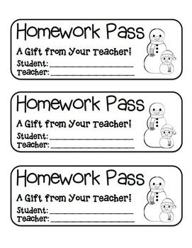 """Snowman Friends"" Homework Pass –Holiday FUN! (black line version)"