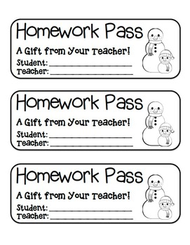 """Snowman Friends"" Homework Pass –Holiday FUN! (full color & black line version)"