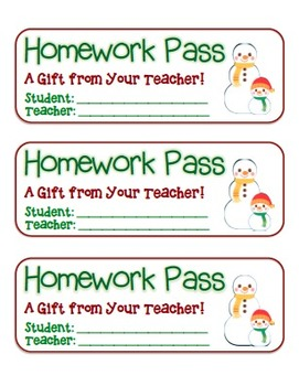 """Snowman Friends"" Homework Pass –Holiday FUN! (full color version)"