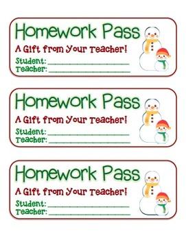 """Snowman Friends"" Homework Pass –Holiday FUN! (full color"