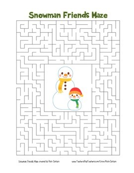 """""""Snowman Friends"""" Maze! Holiday FUN! (Color and Black Line)"""