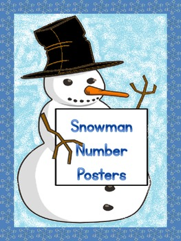 Snowman Full Page Number Posters 0-100