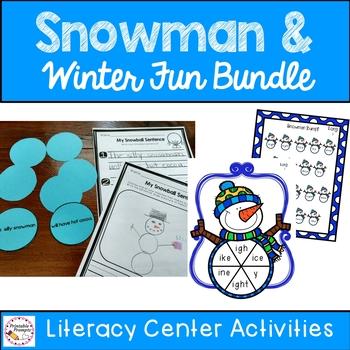 First Grade Snowman Fun Activities Bundle