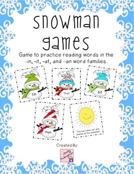 Snowman Games - a game to practice -in, it, -an and -at wo