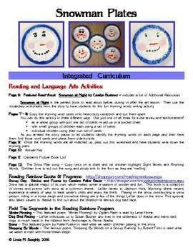 Snowman Gift Plate - Art Lesson with Read-Aloud Rhyming Activities