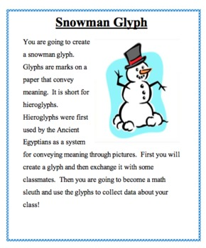 Snowman Glyph + Data Analysis Using Fractions, Percentages and Graphs!