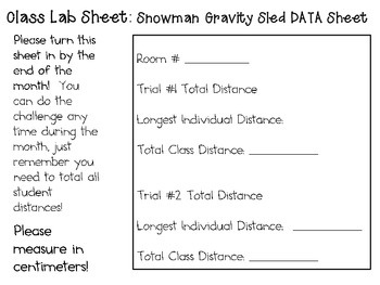 Snowman Gravity Sleds ~ Monthly School-wide Science Challenge ~ STEM