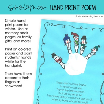 Snowman Hand Print Poem Art Project