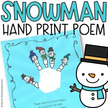 Snowman Hand Print Art