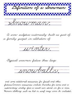 Snowman Handwriting Worksheets MANUSCRIPT CURSIVE