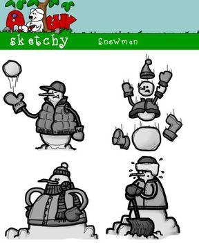 Snowman Holiday / Christmas / Winter Clip art / Graphics 300dpi Color BW Gray