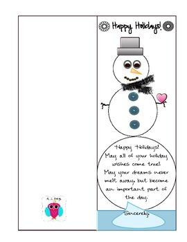 Snowman Holiday Greeting Card Freebie