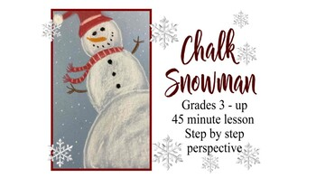 Snowman Holiday activity art perspective lesson Christmas kids chalk