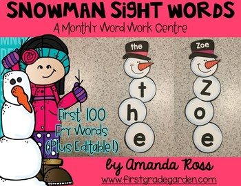 Snowman House Sight Words: A Monthly Word Work Centre {Editable}