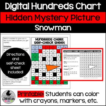Snowman Hundreds Chart Hidden Picture Activity for Math